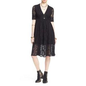 Free People Black Laurel Lace Dress Sz 10 NEW
